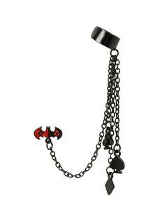 Black cuff earring with a Batman and Harley Quinn logo mashup design.