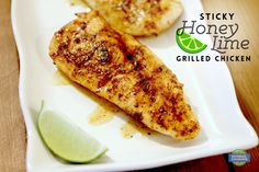 Sticky Honey Lime Grilled Chicken - Delicious recipe for Memorial Day parties or all summer long! Sticky, sweet, and full of flavor.