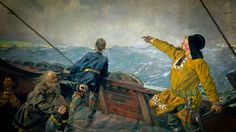 It is not a secret anymore that Columbus was not the first person to discover America. This painting by C Krohg shows L. Eriksson on his way to Vineland. CC commons.