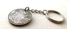 Tunisian Coin keychain Mens gifts Repurposed coin by CoinStories