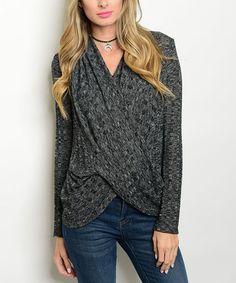 Look at this #zulilyfind! Black & Charcoal Drape Long-Sleeve Surplice Top #zulilyfinds