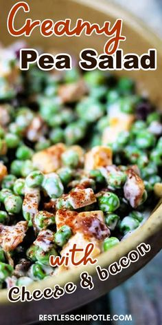 Creamy Pea Salad recipe is a classic southern recipe and perfect for summer sides and family BBQs. Pea salad is welcomed at Church picnics or potlucks. This tasty side dish will disappear fast as it's difficult to resist pea with a cheese and bacon combo! A summer favorite all will love!