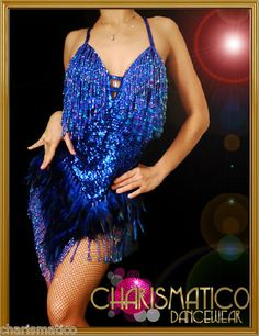 Charismatico Blue sequin sexy feather Sequin DIVA Sequin Showgirl Dress