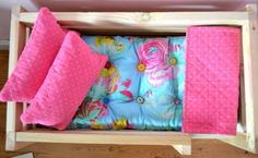 Another Pinner said: I made the bedding for the girls' doll beds using this tutorial.  It was SO easy to follow.  I didn't tuft the mattress because the girls didn't want it that way. To make the blanket I used a piece of flannel for the backside and a cute fat quarter for the front.  A LOT cheaper that way!