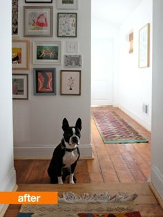 hallway inspiration - white walls, warm wood floors...see before pic with carpet and dingy walls