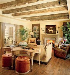 Rustic living room (LA home of Dennis Quaid).