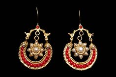 Coral › Earrings  Gold Plated Curved Red Coral Inlaid Band Earrings With A Star Drop White Pearlsl Inlaid Centre