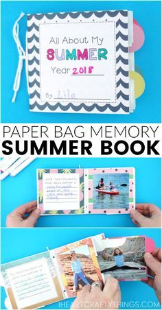 #ad Bottle up summer memories with this fun paper bag summer memory book for kids. It's a project that kids can start now and have fun working on all summer long. Easy paper bag book and summer craft for kids. Gorgeous Love Nicole paper from A.C. Moore. Free memory book template for download. #acmoore #summerfun #summercrafts #summercraftsforkids #kidscraft #craftsforkids