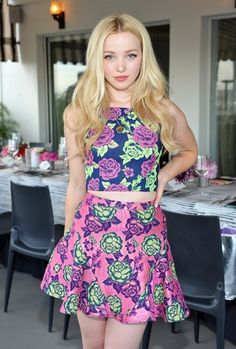 Dove Cameron's colorful floral party style.