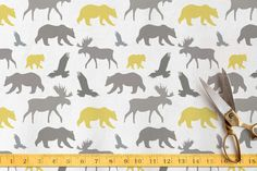 Moose, Bear, Eagle Fabric by Ali Wishart Types Of Printing, Printing On Fabric, Order Prints, Moose Art, Eagle, Diy Projects, Kids Rugs, Bear, Pattern