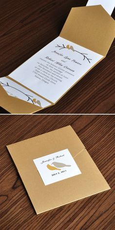 """Love Birds Themed Gold Pocket Wedding Invitations with Free RSVP Cards// Use coupon code """"CVB"""" to get 10% off towards all the invitations. #elegantweddinginvites"""