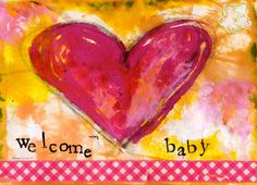 Welcome Baby Girl 5x7 Blank Greeting Card Baby by KathleenTennant, $5.00