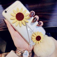 Cute 3D Sunflower Plush Fur Ball Soft TPU Case for iPhone 6 Plus / 6S Plus 5.5 inch