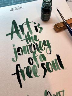 Brushlettering with shimmering ink / Pinselkalligrafie mit Schimmertinte von Jacques Herbin - Vert Atlantide. Workshop, Free Soul, Amazing, Art, Dyes, Art Background, Atelier, Work Shop Garage, Kunst