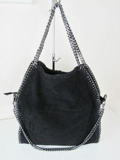 48e7fa1cc7d02 Luxus Damentasche Bella Tasche Kette Bag Chain Wildleder schwarz Trend 2015  Handtasche Mit Kette