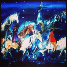 """DeGrazia's """"Navajo Night Chant"""", oil on canvas. Reproductions are available for sale in our gift shop."""