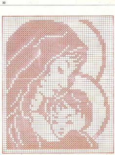madonna a filet Crochet Patterns Filet, Christmas Crochet Patterns, Christmas Embroidery, Holiday Crochet, Cross Stitch Fabric, Cross Stitch Embroidery, Cross Stitch Designs, Cross Stitch Patterns, Fillet Crochet