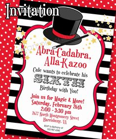 MAGIC PARTY Invitation and Thank You Note - 5x7 - Printable Invitation Set by Amanda's Parties