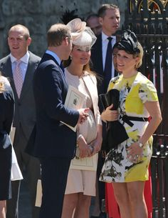 In this view we see Kate and William with Zara Philips after the service, Zara's husband Mike Tindall can be seen on the left. Duke And Duchess, Duchess Of Cambridge, Photo Splash, Queen's Coronation, 60th Anniversary, Westminster Abbey, Jenny Packham, Queen Elizabeth Ii, Zara