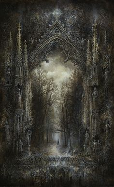 Yaroslav Gerzhedovich <<--I LOVE this design! Forest and Gothic architecture blended into one... Is the forest overtaking the ruins of an abandoned building, or is the structure living, growing out of the earth along with the trees?