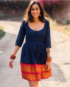Midnight Black and Orange Fit & Flare Madurai Saree Dress - M / Pink Indian Attire, Indian Wear, Indian Outfits, Indian Style, Long Gown Dress, Sari Dress, Saree Gown, Punjabi Dress, Kurta Designs