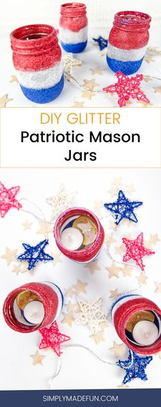Glitter Patriotic Mason Jars | Mason Jar Crafts | Mason Jar DIY | Mason Jars | Glitter Crafts | Glitter DIY | 4th of July Crafts | Patriotic Crafts | Patriotic DIY