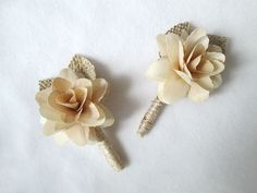 2 Rustic Boutonnieres Shabby Chic Wedding Decoration by AntoArts