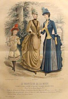 1885 Moniteur de la Mode, Parisian Ladies Fashion (Plate 38-1885)