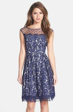 8928db1348 Eliza J Illusion Yoke Lace Fit   Flare Dress Navy Cocktail Dress