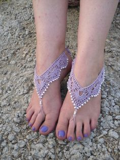Free Shipping Crochet Barefoot Sandals Beaded by Serbiangirl