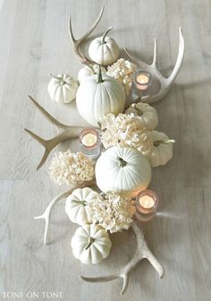 Who says your fall centerpiece has to be orange? Stunning fall centerpiece by tone on tone with muted colors, antlers, white pumpkins, and white hydrangeas. Spring Decoration, Decoration Table, Autumn Decorations, Deer Antler Decorations, Decorating With Deer Antlers, Rustic Halloween Decorations, Deer Horns Decor, Fall Table Decorations, Halloween Centerpieces