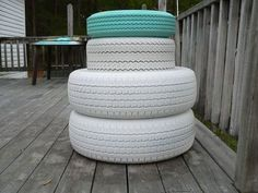 I moved to South Carolina 5 years ago from Pennsylvania. I can't say I miss the snow, but I do miss snowmen. I started with 2 matching car tires. Painted th… Reuse Old Tires, Reuse Recycle, Recycling, Old Bed Springs, Make A Closet, Diy Cabinet Doors, Tire Swings, Tire Chairs, Old Beds