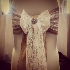 Rustic / vintage themed wedding chair covers with hessian and lace sash Wedding inspiration, venue decor, wedding flowers http://www.avantgardenevents.co.uk