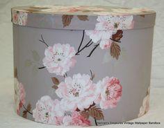 Vintage Wallpaper Bandbox (Bonnet Box), a great gray and pink floral combo
