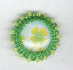 Beaded Brooch Pin St. Patrick's Day Four Leaf Clover by FoxyMomma