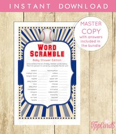 Baseball Baby Shower Word Scramble Game Printable Instant Download Baseball Word Scramble Game in Blue and Grey Boy Baby Shower  0038A by TppCardS #tppcards #printable #invitations