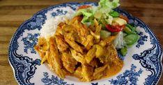 Her er oppskrift på en påskegul kyllingrettsomer både kremeteog har mye smak.        I påsken skal det jo være flust med lammekjøtt, ... Thai Red Curry, Chicken, Meat, Ethnic Recipes, Food, Essen, Meals, Yemek, Eten
