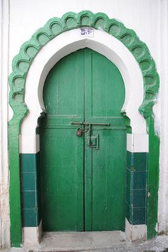 A colorful green door photographed in Tangier, Morocco. Cool Doors, Unique Doors, Portal, Knobs And Knockers, Door Knobs, When One Door Closes, Grand Entrance, Closed Doors, Interior Exterior