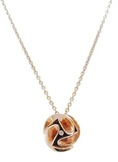 9 Carat Rose Gold Ruffle Pendant on 18 Inch Rose Gold Chain #gold #contemporary #boutique #London  #designer #jewellery #handmade #NudeJewellery