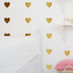 Metal Effect Heart Wall Stickers