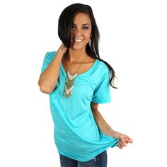 Fit Me Perfect V-Tee in Turquoise | Impressions Online Women's Clothing Boutique  This simple v-neck is one of our favorite basics! It's super soft and comfortable!