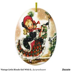 Vintage Little Blonde Girl With Gifts Ceramic Ornament