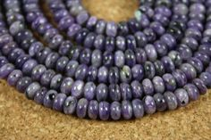 Purple Charoite Rondelle Beads  Smooth Purple Beads by ABOSBeads, $37.99