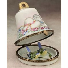 Limoges wedding bell with birds box