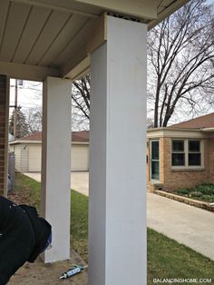 Updating porch pillars.  Directions on how to make theme look like these!
