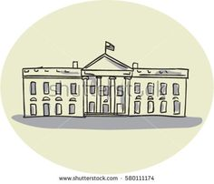 Drawing sketch style illustration of the White House building set inside oval shape viewed from front set on isolated background.  #whitehouse #drawing #illustration
