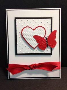 Black square Simple Dotted texture Heart and red butterfly red bow card