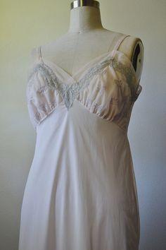 Unusual 1960s Powder Pink Maxi Slip Dress with Cutout Detail