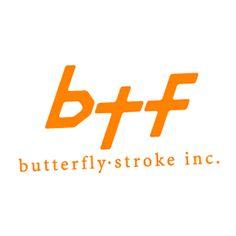 バタフライ・ストローク・株式會社のロゴ:ナナメ感がよいね。   ロゴストック
