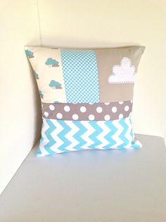 Cloud Pillow cover / Cushion cover in Aqua and grey. $40.00, via Etsy.